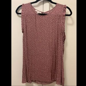 Pink white dot tank with small ruffle